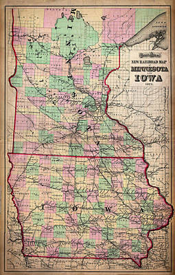 Iowa Drawing - Railroad Map Of Minnesota And Iowa 1873 by Mountain Dreams