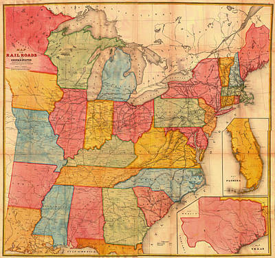 Terminal Drawing - Railroad Map Of The United States 1852 by Mountain Dreams