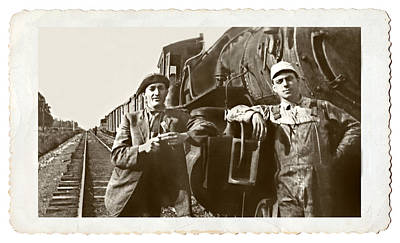Railroad Men Print by Susan Leggett