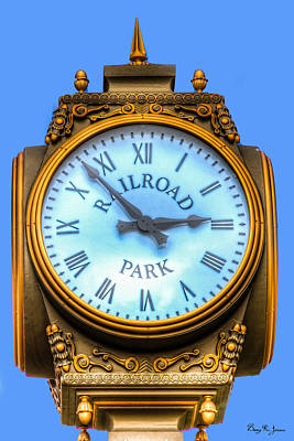 Photograph - Ornate - Railroad Park Clock by Barry Jones