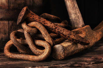 Chains Photograph - Railroad Spike Still Life by Tom Mc Nemar