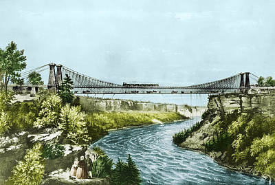 Photograph - Railroad Suspension Bridge, 1856 by Science Source