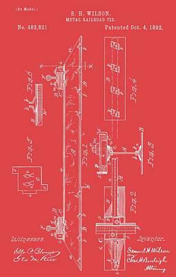 Digital Art - Railroad Tie On Red by Dan Sproul