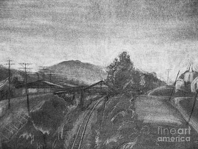 Drawing - Railroad To Coal Mine. by Jott DH