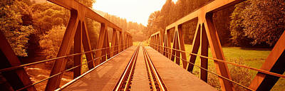 Train Tracks Photograph - Railroad Tracks And Bridge Germany by Panoramic Images