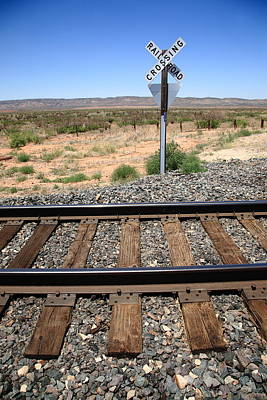 Photograph - Railroad Tracks And Crossing by Frank Romeo