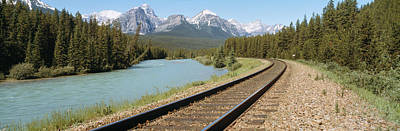 Mts Photograph - Railroad Tracks Bow River Alberta Canada by Panoramic Images