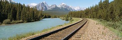 Railroad Tracks Bow River Alberta Canada Print by Panoramic Images