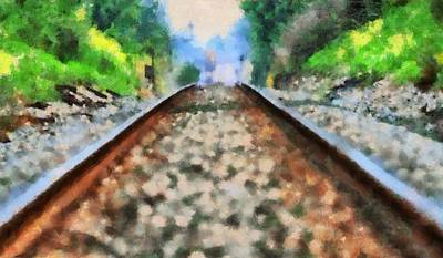 Painting - Railroad Tracks In The Summer Heat by Dan Sproul