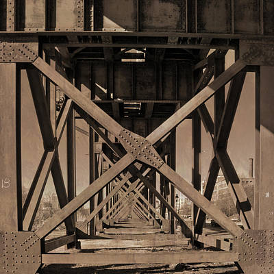 Railroad Trestle Sepia Art Print
