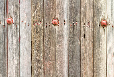 Photograph - Railroad Wood Texture And Red Bolts  by James BO  Insogna