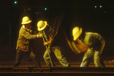 Strobe Photograph - Railroad Workers by Mark Greenberg