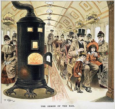 Furnace Painting - Railroading Cartoon, 1887 by Granger