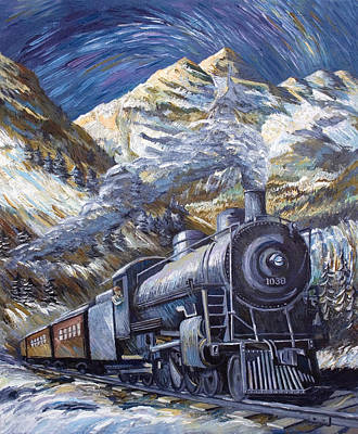 Painting - Railroading Over The Rockies by Paula Blasius McHugh