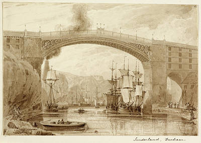 Railway Bridge Over The River Wear Print by British Library