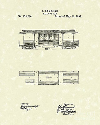 Drawing - Railway Car 1892 Patent Art by Prior Art Design