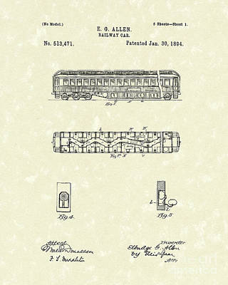 Drawing - Railway Car 1894 Patent Art by Prior Art Design