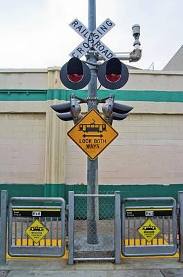 Railway Crossing In Downtown Los Angeles. Art Print by Mark Williamson