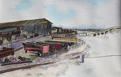 Painting - Railway Dreamers With San Francisco Skyline by Asha Carolyn Young