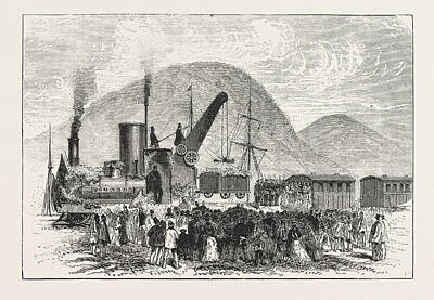 New Zealand Drawing - Railway Enterprise In New Zealand, Hoisting The First Truck by New Zealand School