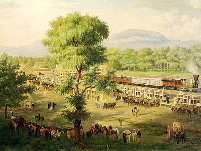 Railway In The Valley Of Mexico, 1869 Oil On Canvas Art Print by Luiz Coto