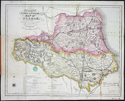 Railway Map Of Durham Art Print by British Library
