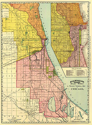 Terminal Drawing - Railway Terminal Map Of Chicago 1897 by Mountain Dreams