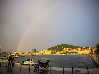 Photograph - Rain And Rainbow In Split Croatia by Anthony Doudt