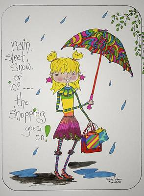 Drawing - Rain And Shopping by Mary Kay De Jesus