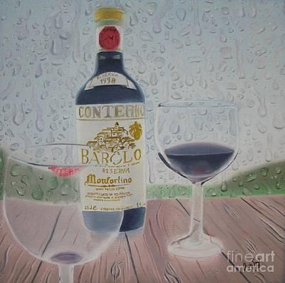 Italian Wine Painting - Rain And Wine by Angela Melendez