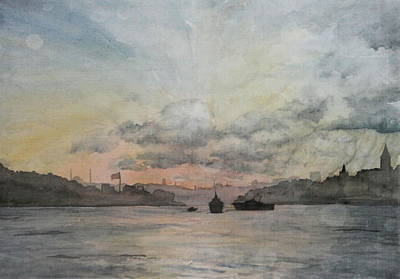 Sun Rays Painting - Rain Approaching The Golden Horn by Rebecca Davis