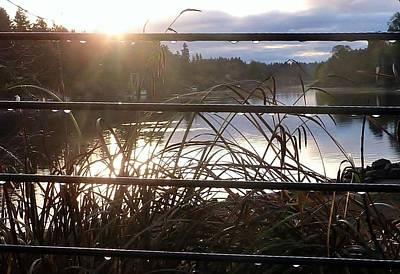 Photograph - Rain Drops On Railing River View 1 by Susan Garren