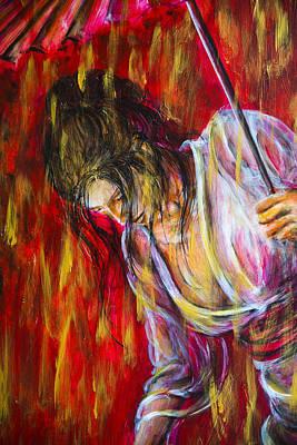 Painting - Rain Geisha Red by Nik Helbig
