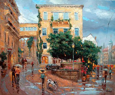 Art Print featuring the painting Rain In Baden Baden by Dmitry Spiros