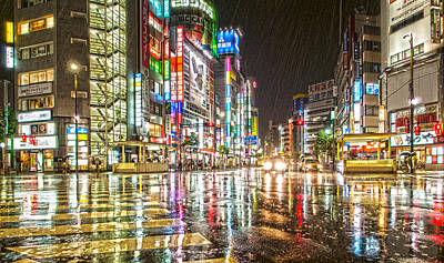 Citys Photograph - Rain In Ikebukuro Japan by Clive Eariss