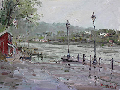 Hill Painting - Rain In Lewiston Waterfront by Ylli Haruni
