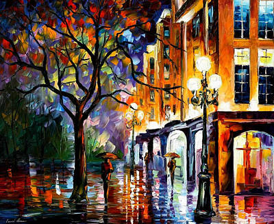 Rain In Miami - Palette Knife Oil Painting On Canvas By Leonid Afremov Original