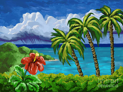 Art Print featuring the painting Rain In The Islands by Tim Gilliland