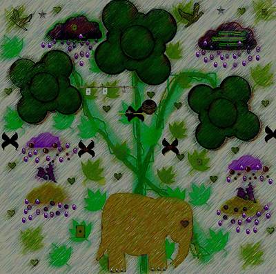 Windy Mixed Media - Rain In The Poker Forest by Pepita Selles