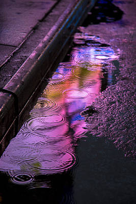 Abstractions Photograph - Rain In The Street by Garry Gay
