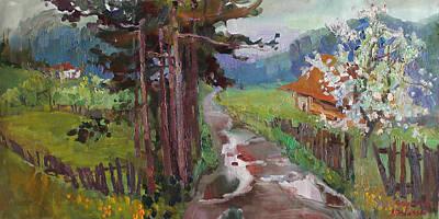 Sakura Painting - Rain In Vorokhta by Anastasiia Grygorieva