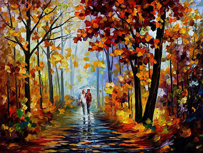 Rain In Woods - Palette Knife Oil Painting On Canvas By Leonid Afremov Original by Leonid Afremov