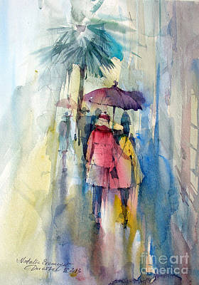 Watercolor Painting - Rain by Natalia Eremeyeva Duarte