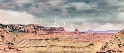 Digital Art - Rain On Desert Buttes by Walter Colvin