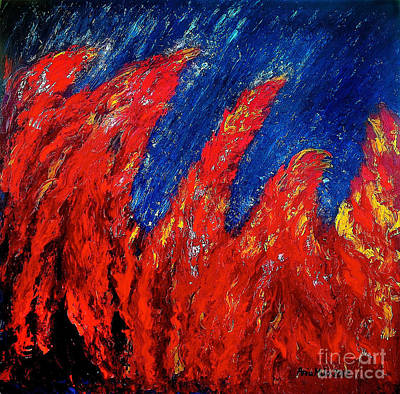 Rain On Fire Original by Ania M Milo