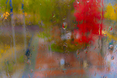 Nature Abstract Digital Art - Rain On Glass by Susan Stone