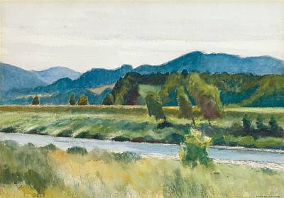 Bank Clouds Hills Painting - Rain On River by Edward Hopper