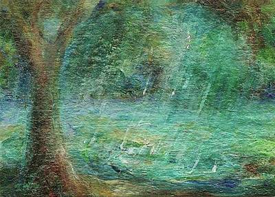 Art Print featuring the painting Rain On The Pond by Mary Wolf