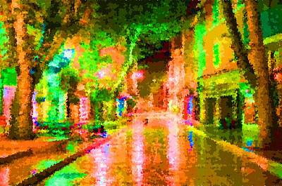 Painting - Rain Street  by Samuel Majcen