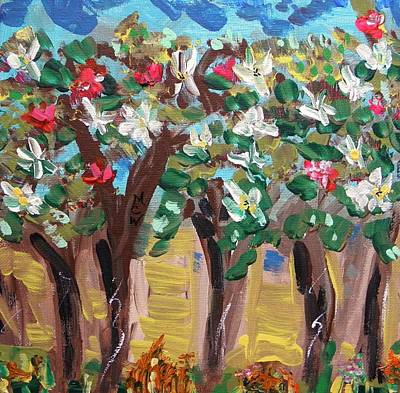 Primitive Raw Art Painting - Rain On The Trees Of Spring by Mary Carol Williams